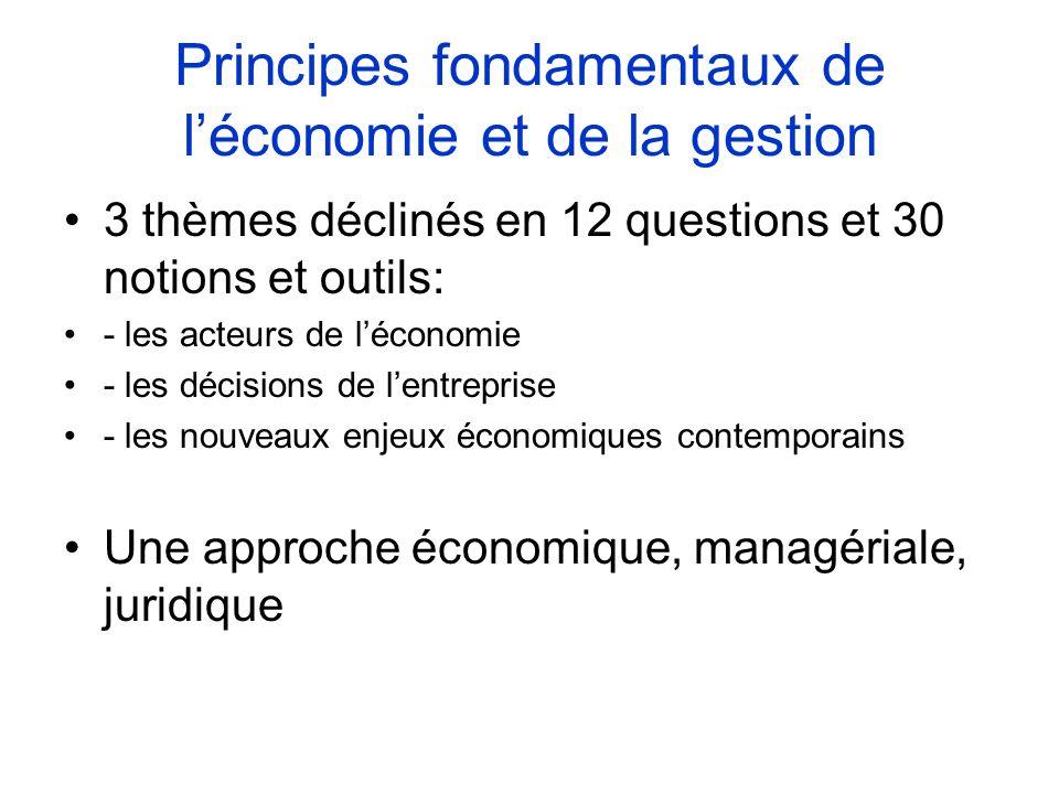 Principes fondamentaux de léconomie et de la gestion 3 thèmes déclinés en 12 questions et 30 notions et outils: - les acteurs de léconomie - les décis
