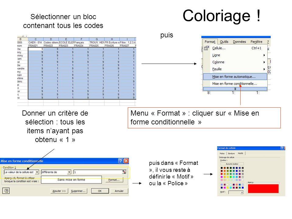 Coloriage ! Sélectionner un bloc contenant tous les codes puis Donner un critère de sélection : tous les items nayant pas obtenu « 1 » Menu « Format »
