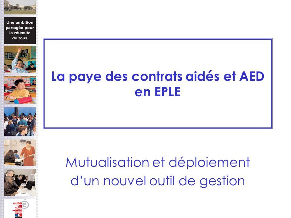 La paye des contrats aidés et AED en EPLE Mutualisation et déploiement dun nouvel outil de gestion