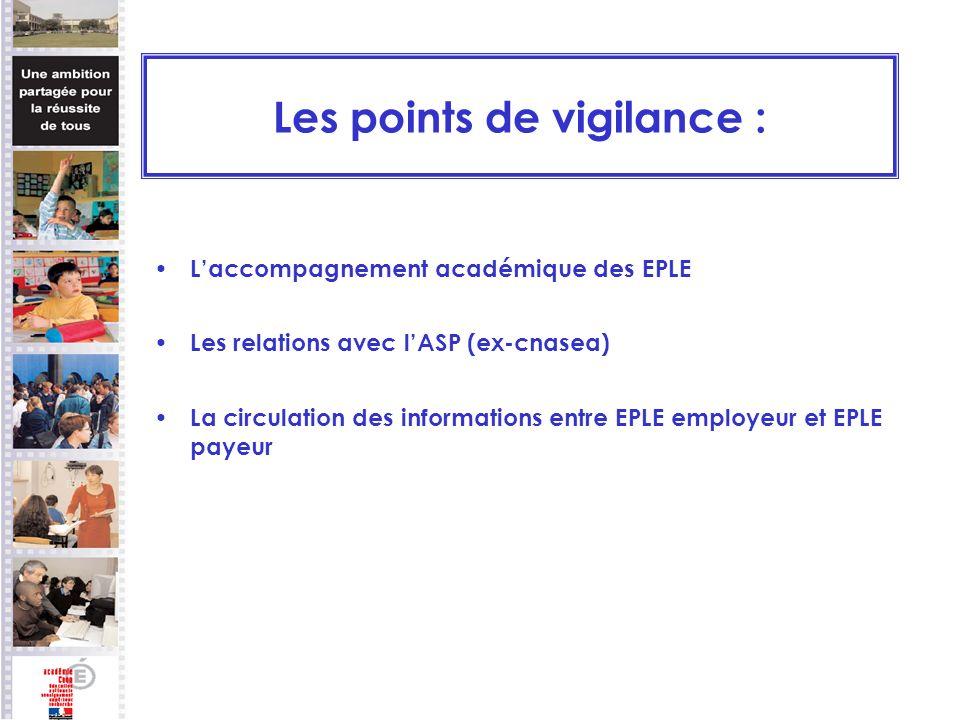 Les points de vigilance : Laccompagnement académique des EPLE Les relations avec lASP (ex-cnasea) La circulation des informations entre EPLE employeur et EPLE payeur