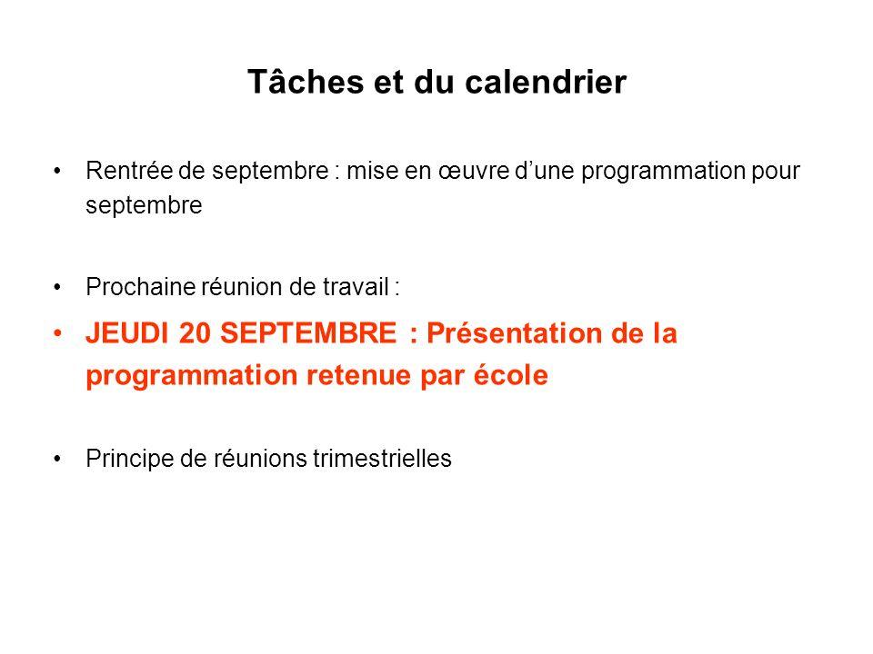 Tâches et du calendrier Rentrée de septembre : mise en œuvre dune programmation pour septembre Prochaine réunion de travail : JEUDI 20 SEPTEMBRE : Présentation de la programmation retenue par école Principe de réunions trimestrielles