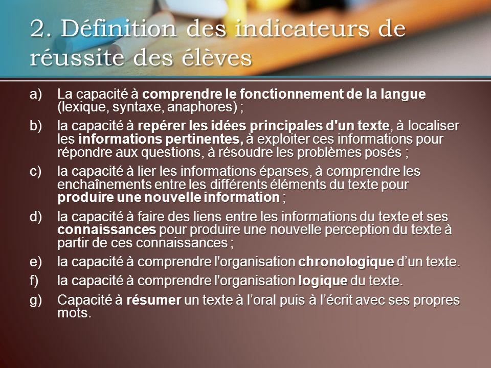 a) La capacité à comprendre le fonctionnement de la langue (lexique, syntaxe, anaphores) ; b) la capacité à repérer les idées principales d'un texte,