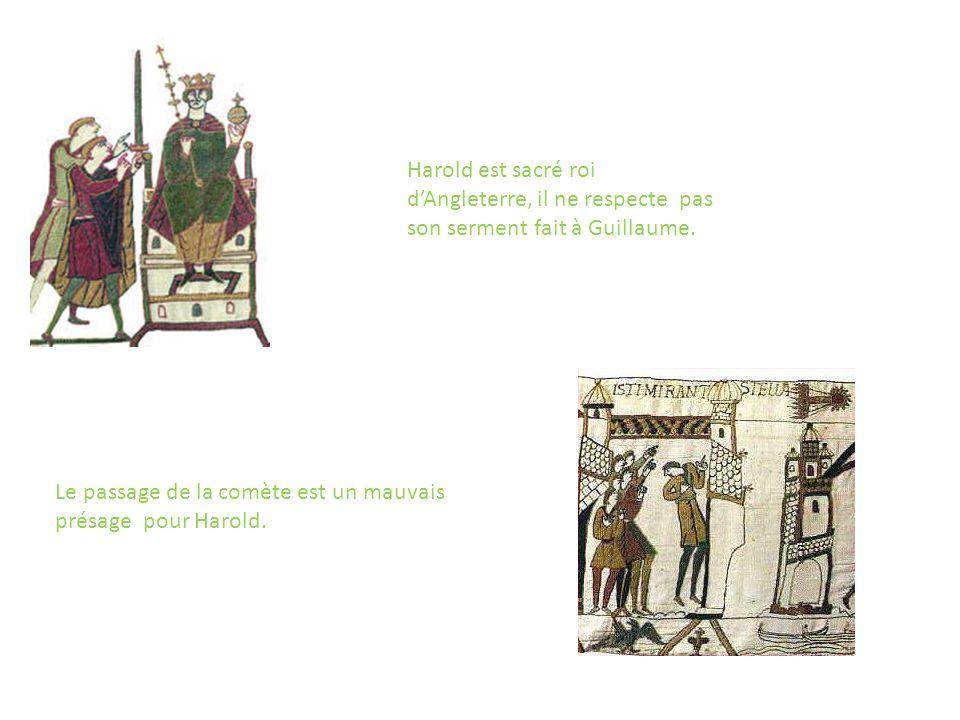 Edouard envoie Harold dire à son cousin Guillaume quil sera roi à sa mort. Harold prête serment à Guillaume en lui disant quil sera roi.