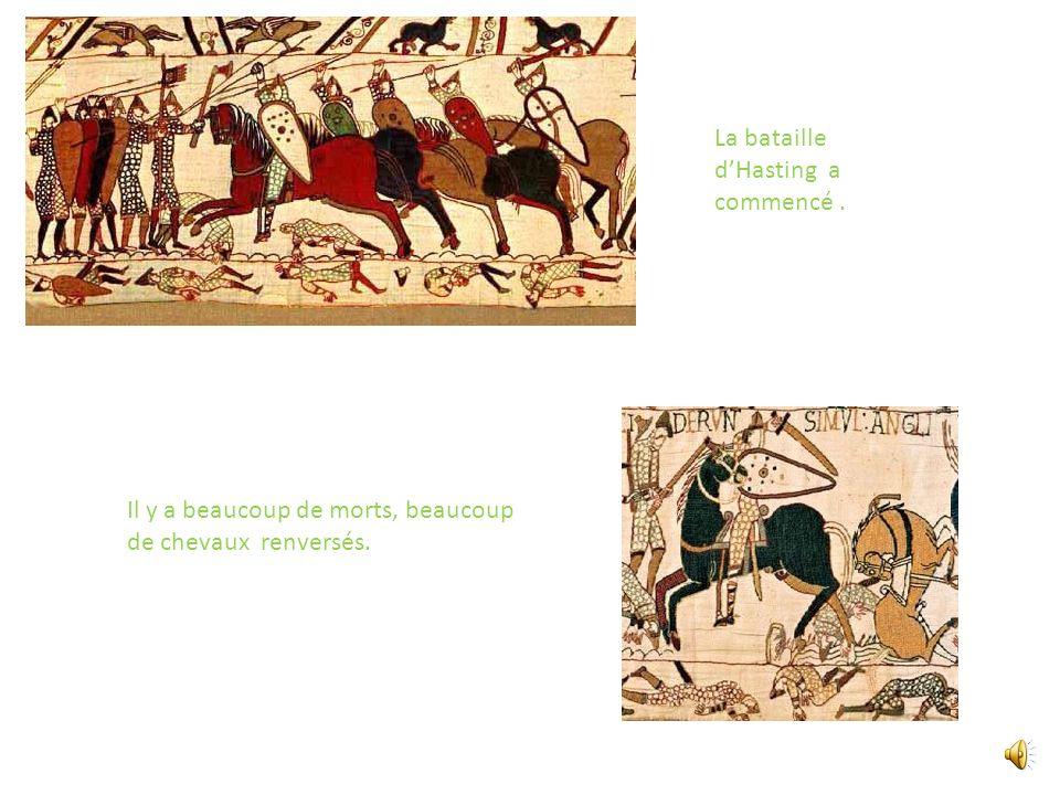 Guillaume traverse la Manche. Guillaume et ses soldats ont débarqué à Pevensey.