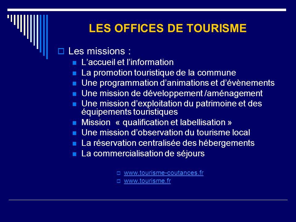 LES OFFICES DE TOURISME Les missions : Laccueil et linformation La promotion touristique de la commune Une programmation danimations et dévènements Un