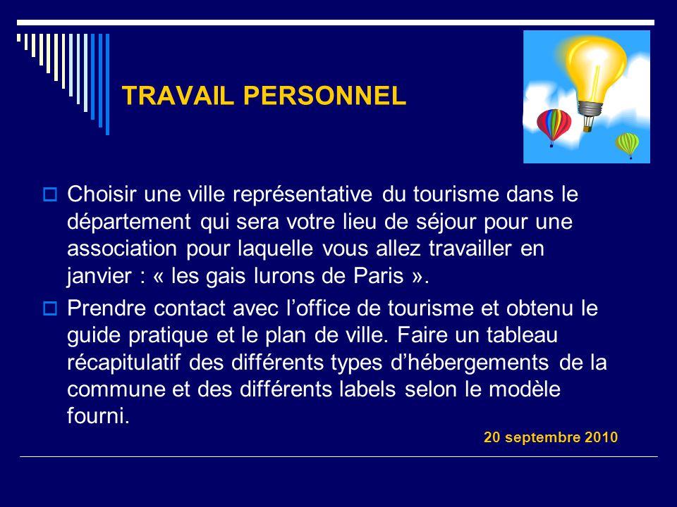 TRAVAIL PERSONNEL Choisir une ville représentative du tourisme dans le département qui sera votre lieu de séjour pour une association pour laquelle vo