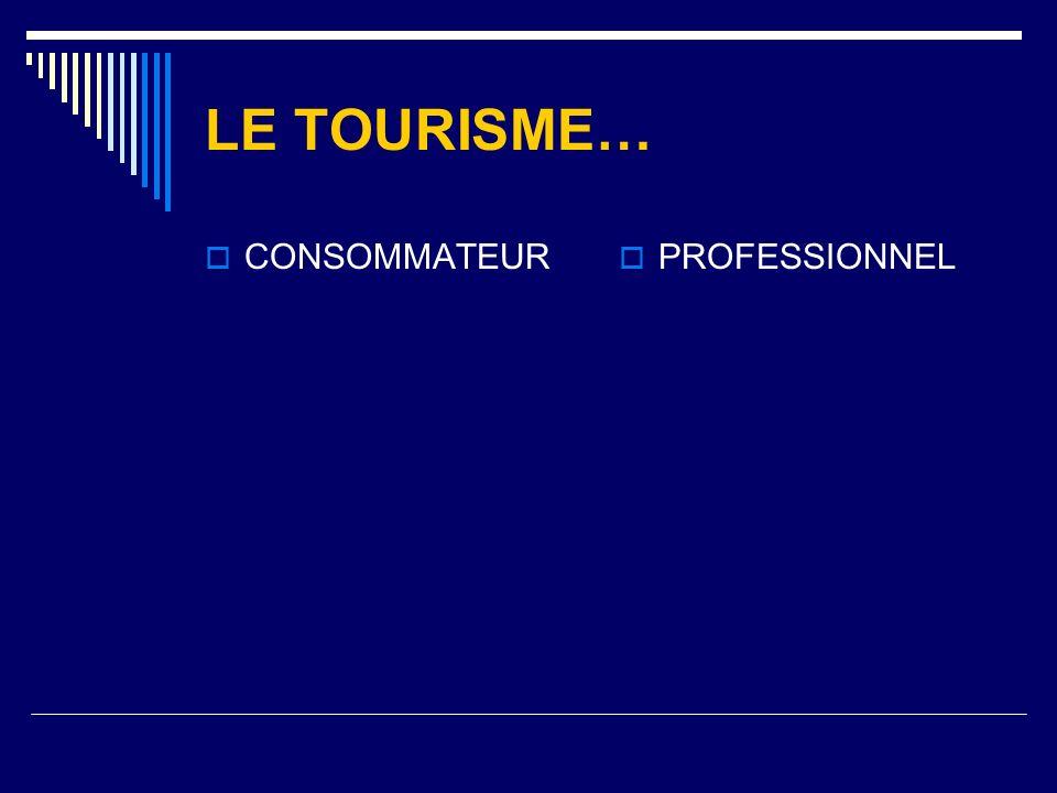 LE TOURISME… CONSOMMATEUR PROFESSIONNEL