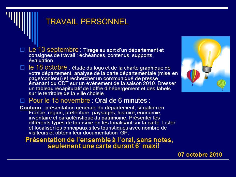 TRAVAIL PERSONNEL Le 13 septembre : Tirage au sort dun département et consignes de travail : échéances, contenus, supports, évaluation. le 18 octobre