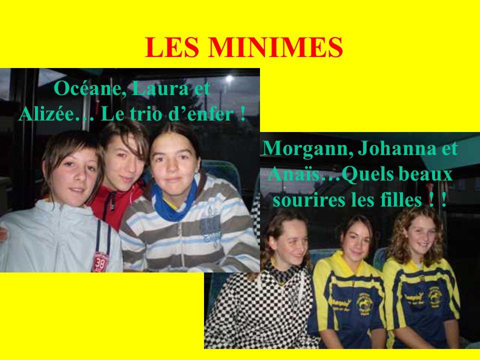 LES MINIMES Océane, Laura et Alizée… Le trio denfer ! Morgann, Johanna et Anaïs…Quels beaux sourires les filles ! !
