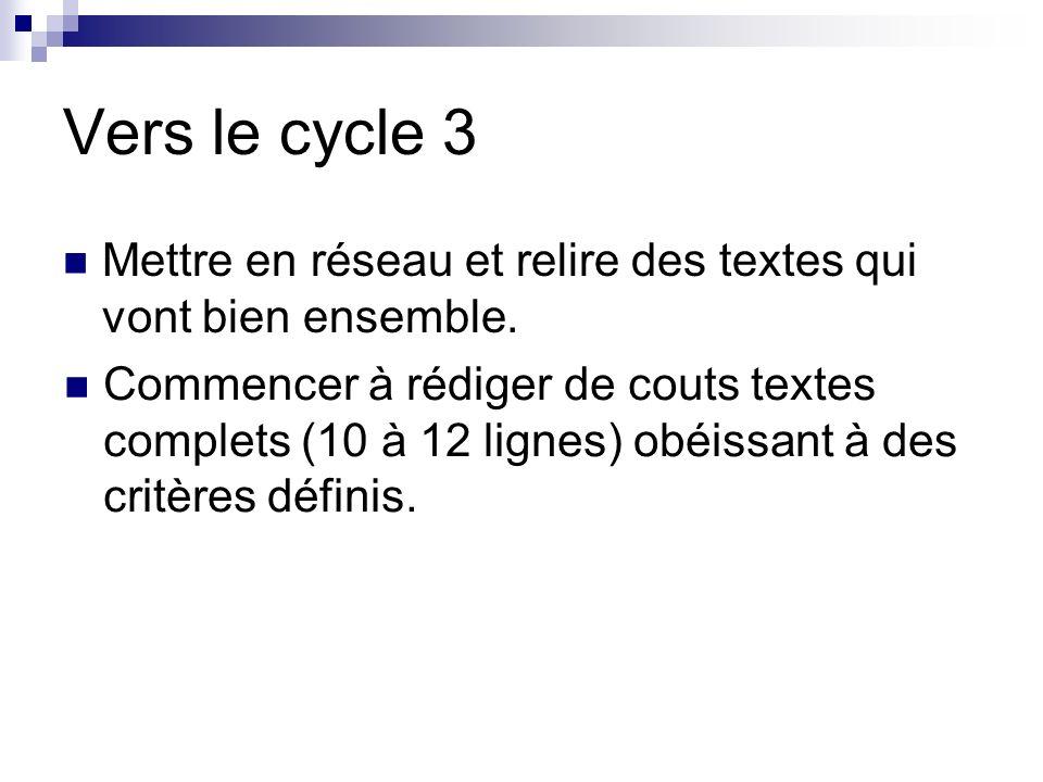 Vers le cycle 3 Mettre en réseau et relire des textes qui vont bien ensemble. Commencer à rédiger de couts textes complets (10 à 12 lignes) obéissant