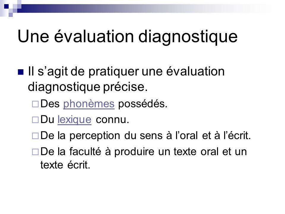 Une évaluation diagnostique Il sagit de pratiquer une évaluation diagnostique précise. Des phonèmes possédés.phonèmes Du lexique connu.lexique De la p