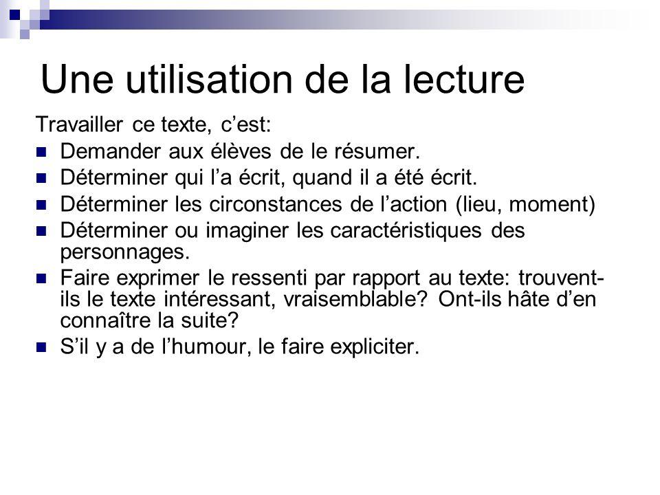 Une utilisation de la lecture Ensuite seulement faire préciser le texte: Par un questionnement oral: 1.Où se passe cette histoire .
