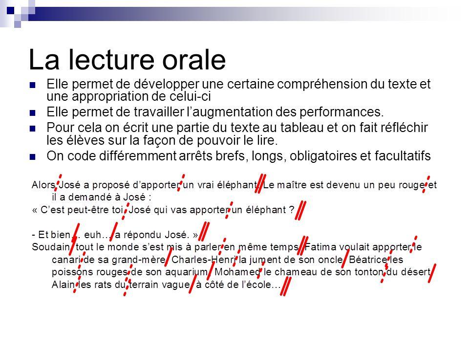 La lecture orale Elle permet de développer une certaine compréhension du texte et une appropriation de celui-ci Elle permet de travailler laugmentatio