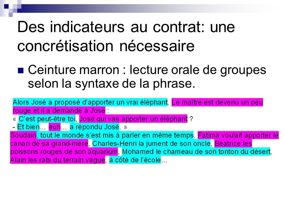 Des indicateurs au contrat: une concrétisation nécessaire Ceinture marron : lecture orale de groupes selon la syntaxe de la phrase.