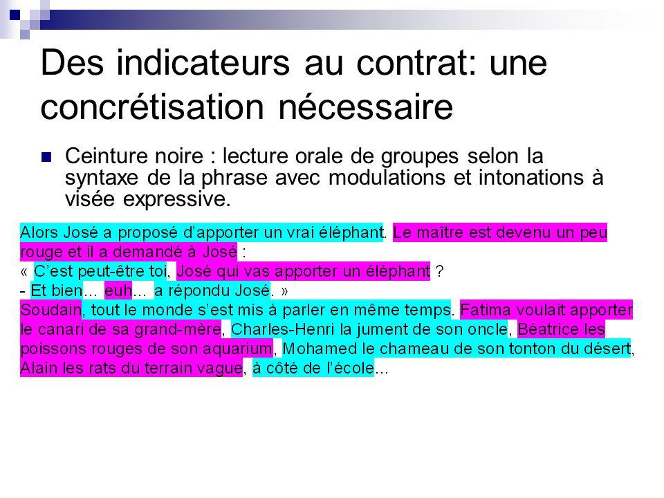 Des indicateurs au contrat: une concrétisation nécessaire Ceinture noire : lecture orale de groupes selon la syntaxe de la phrase avec modulations et