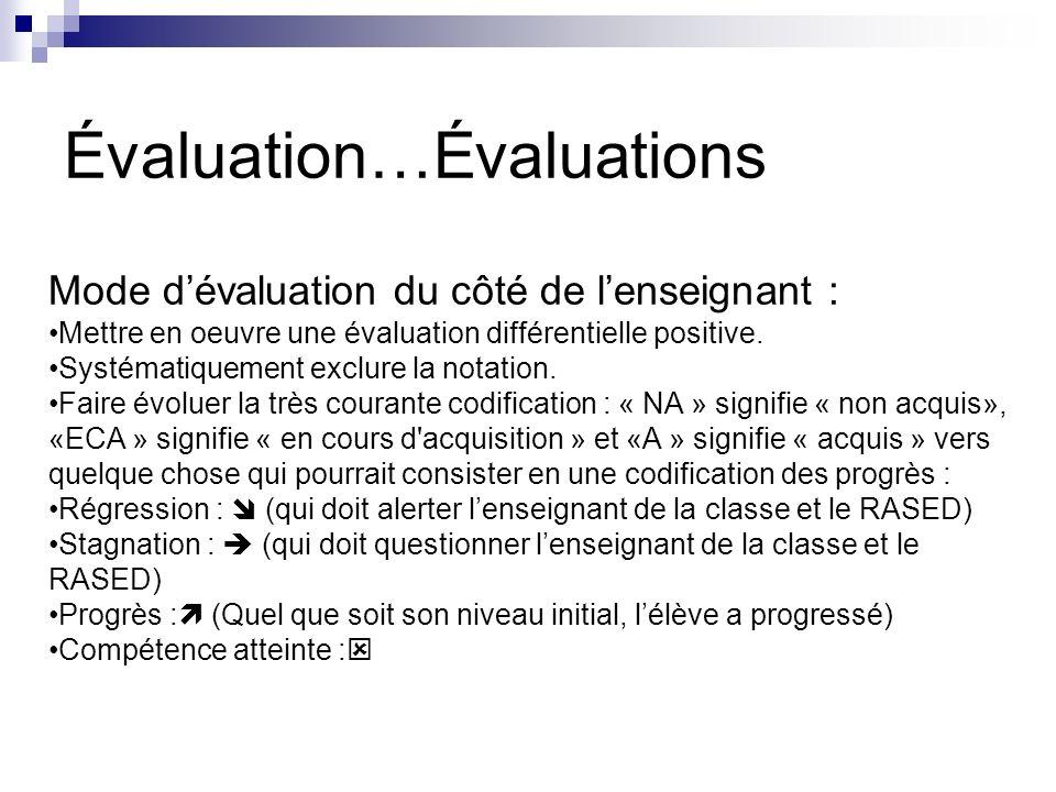 Mode dévaluation du côté de lenseignant : Mettre en oeuvre une évaluation différentielle positive. Systématiquement exclure la notation. Faire évoluer