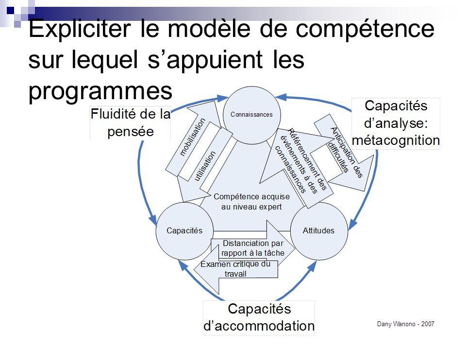 Expliciter le modèle de compétence sur lequel sappuient les programmes