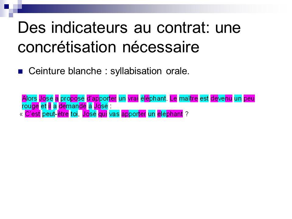 Des indicateurs au contrat: une concrétisation nécessaire Ceinture blanche : syllabisation orale.