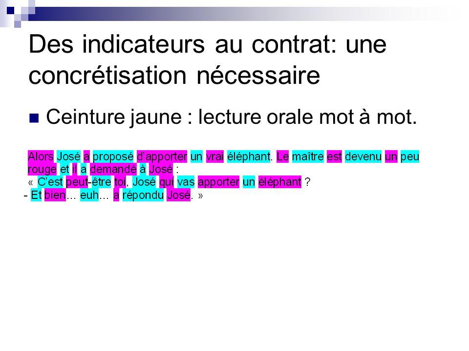 Des indicateurs au contrat: une concrétisation nécessaire Ceinture jaune : lecture orale mot à mot.