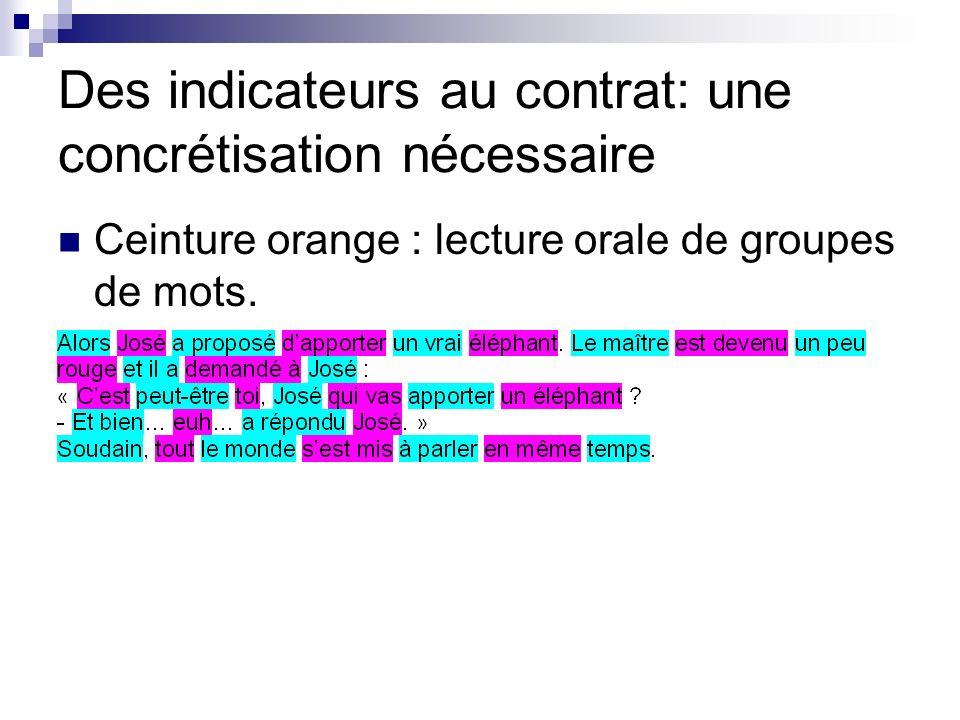 Des indicateurs au contrat: une concrétisation nécessaire Ceinture orange : lecture orale de groupes de mots.