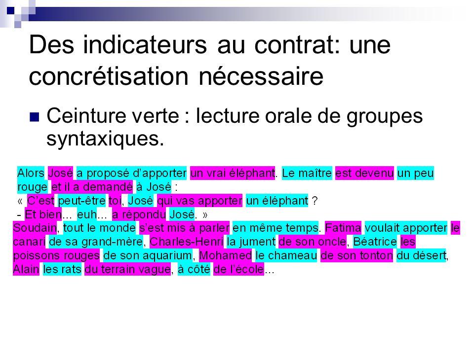 Des indicateurs au contrat: une concrétisation nécessaire Ceinture verte : lecture orale de groupes syntaxiques.