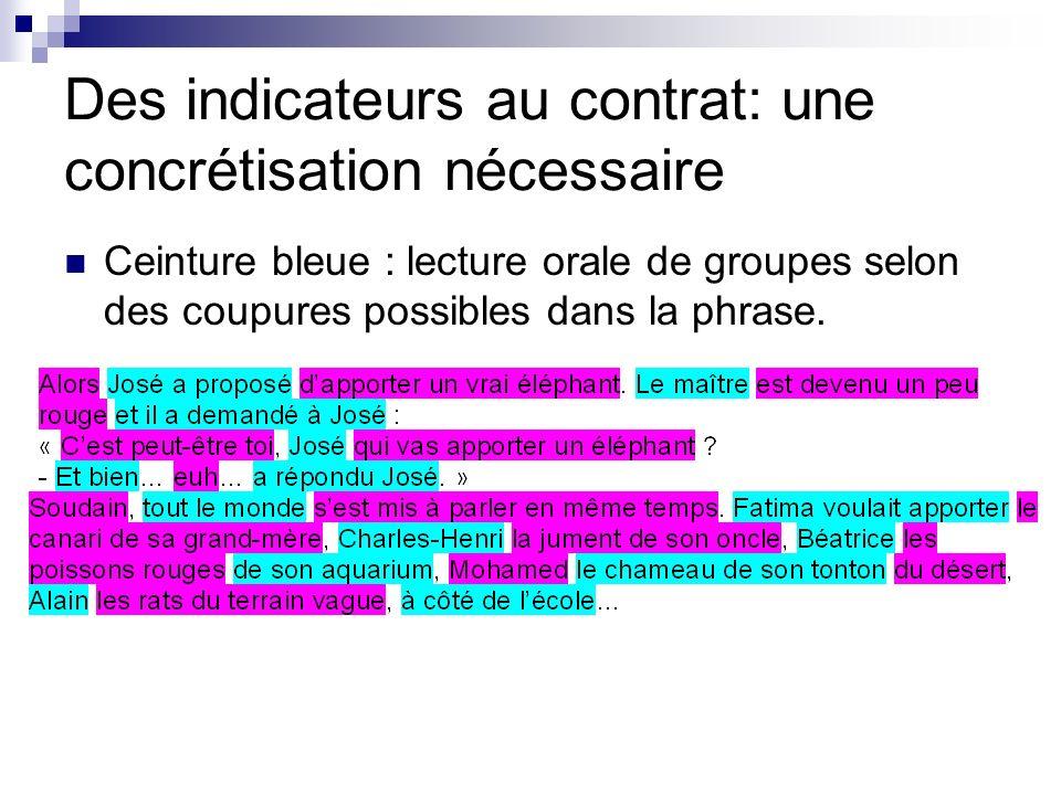 Des indicateurs au contrat: une concrétisation nécessaire Ceinture bleue : lecture orale de groupes selon des coupures possibles dans la phrase.