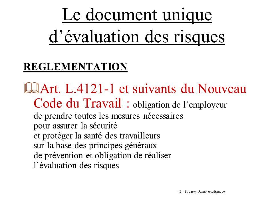 Le document unique dévaluation des risques REGLEMENTATION Art. L.4121-1 et suivants du Nouveau Code du Travail : obligation de lemployeur de prendre t