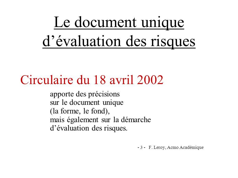 Le document unique dévaluation des risques Circulaire du 18 avril 2002 apporte des précisions sur le document unique (la forme, le fond), mais égaleme