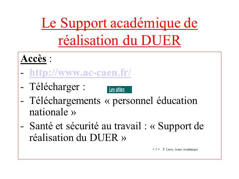 Le Support académique de réalisation du DUER Accès : -http://www.ac-caen.fr/http://www.ac-caen.fr/ -Télécharger : -Téléchargements « personnel éducati