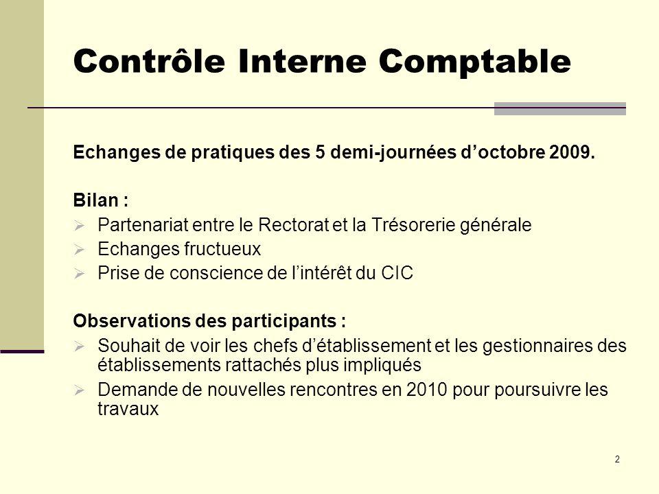3 Contrôle Interne Comptable En réponse : Il est prévu de nouvelles journées déchanges en mai 2010 à destination des Agents comptables et des gestionnaires.