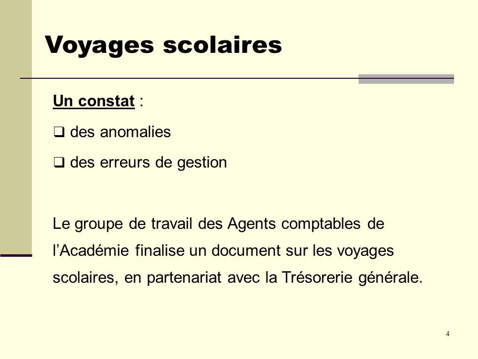 4 Voyages scolaires Un constat : des anomalies des erreurs de gestion Le groupe de travail des Agents comptables de lAcadémie finalise un document sur