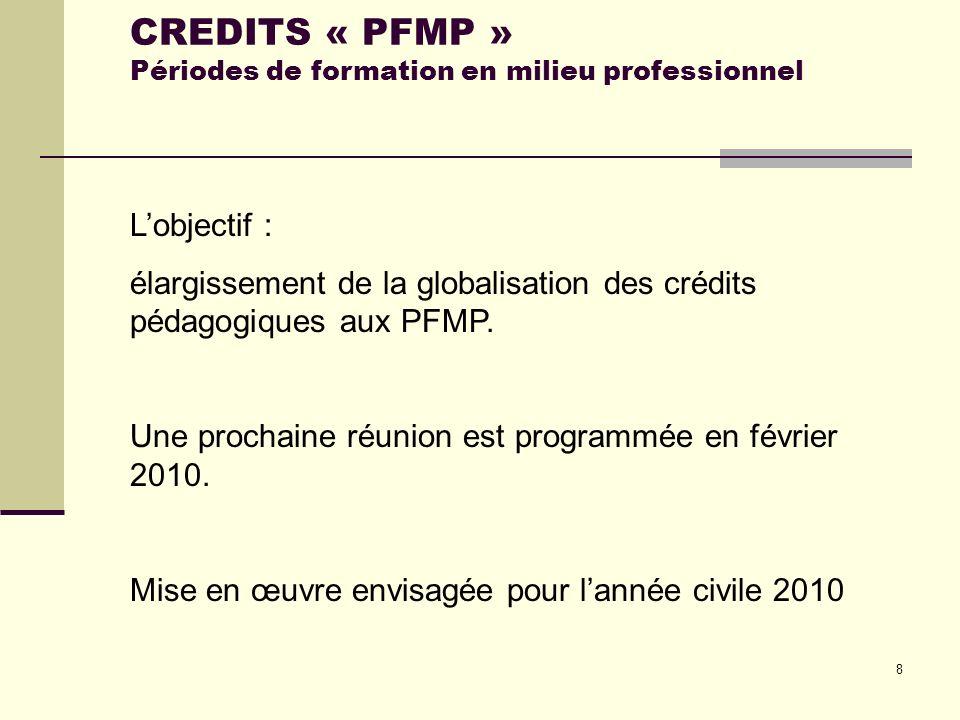 8 Lobjectif : élargissement de la globalisation des crédits pédagogiques aux PFMP. Une prochaine réunion est programmée en février 2010. Mise en œuvre
