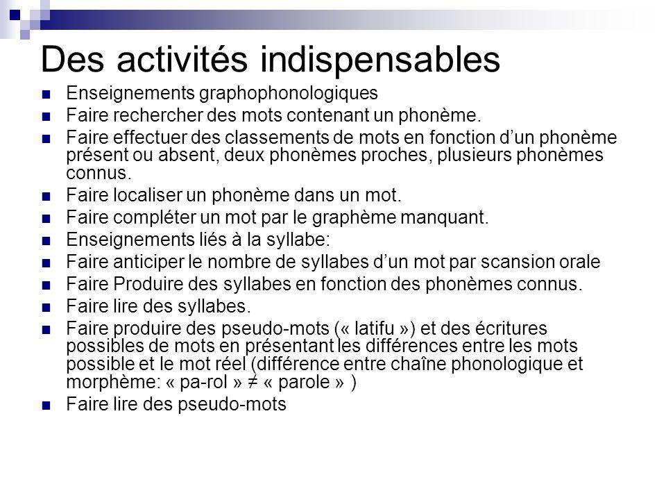 Des activités indispensables Enseignements graphophonologiques Faire rechercher des mots contenant un phonème. Faire effectuer des classements de mots