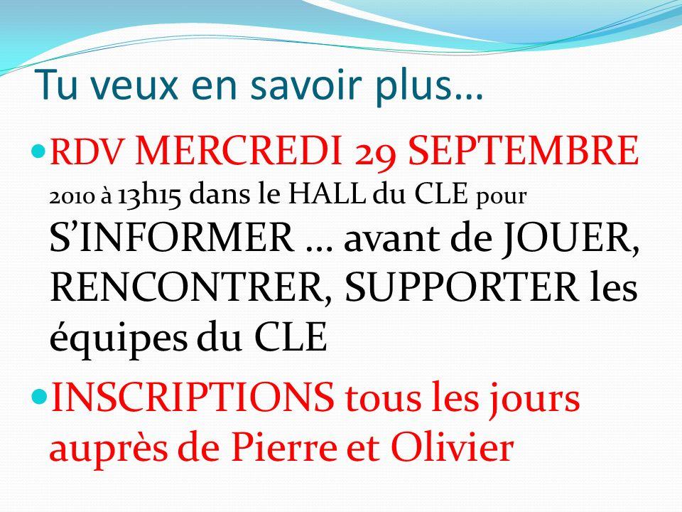 Tu veux en savoir plus… RDV MERCREDI 29 SEPTEMBRE 2010 à 13h15 dans le HALL du CLE pour SINFORMER … avant de JOUER, RENCONTRER, SUPPORTER les équipes du CLE INSCRIPTIONS tous les jours auprès de Pierre et Olivier