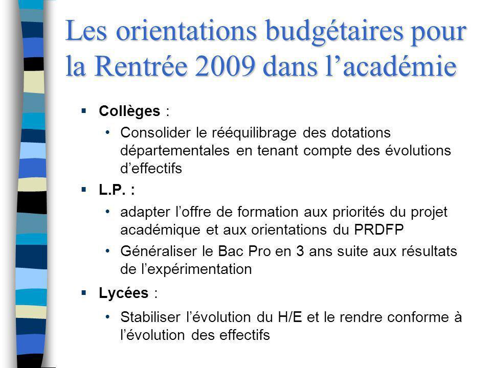 Les orientations budgétaires pour la Rentrée 2009 dans lacadémie Collèges : Consolider le rééquilibrage des dotations départementales en tenant compte
