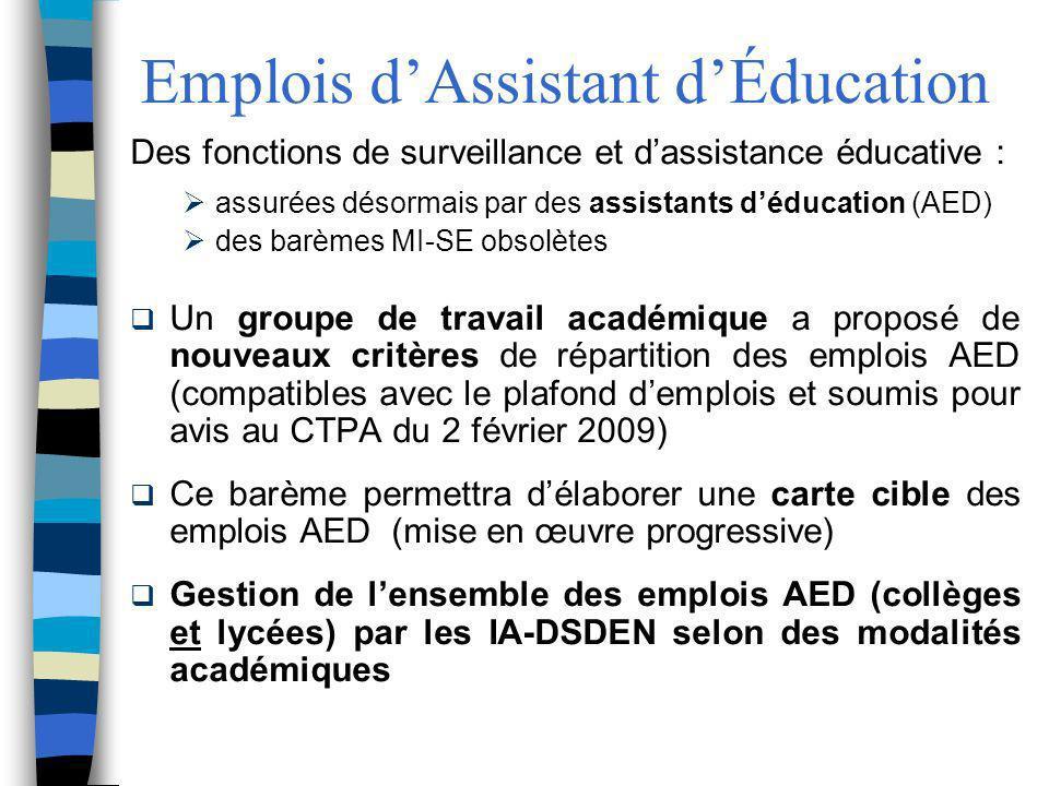 Emplois dAssistant dÉducation Des fonctions de surveillance et dassistance éducative : assurées désormais par des assistants déducation (AED) des barè