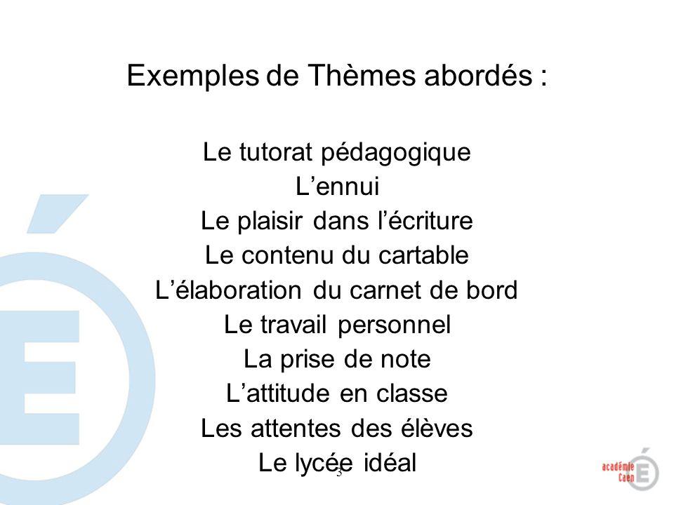 3 Exemples de Thèmes abordés : Le tutorat pédagogique Lennui Le plaisir dans lécriture Le contenu du cartable Lélaboration du carnet de bord Le travai