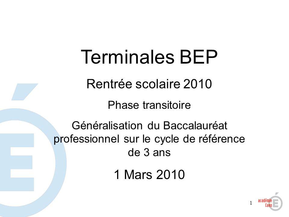 1 Terminales BEP Rentrée scolaire 2010 Phase transitoire Généralisation du Baccalauréat professionnel sur le cycle de référence de 3 ans 1 Mars 2010