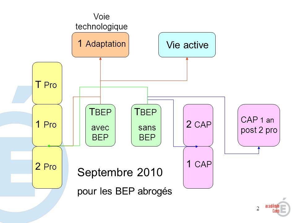 2 Voie technologique 1 Adaptation Vie active 2 Pro 1 Pro T Pro T BEP avec BEP 1 CAP 2 CAP CAP 1 an post 2 pro T BEP sans BEP Septembre 2010 pour les B