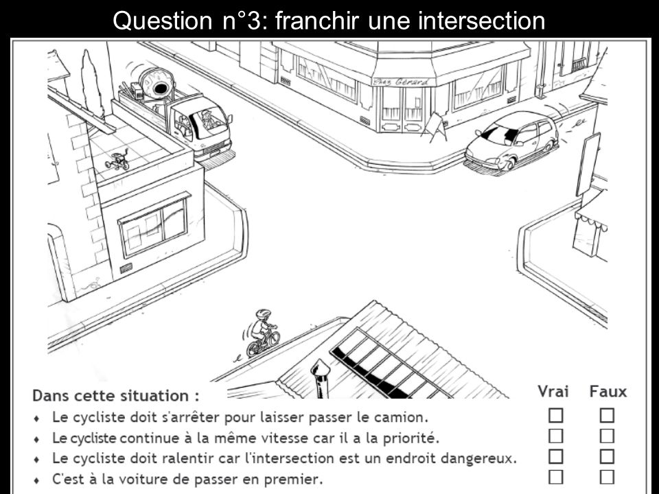 Question n°4 : franchir une intersection