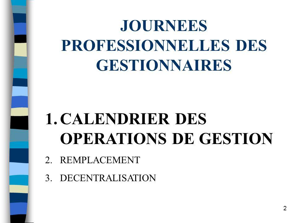2 1.CALENDRIER DES OPERATIONS DE GESTION 2.REMPLACEMENT 3.DECENTRALISATION