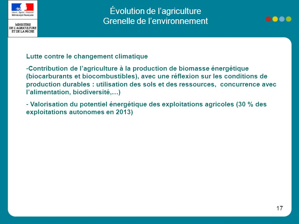 17 Évolution de lagriculture Grenelle de lenvironnement Lutte contre le changement climatique -Contribution de lagriculture à la production de biomasse énergétique (biocarburants et biocombustibles), avec une réflexion sur les conditions de production durables : utilisation des sols et des ressources, concurrence avec lalimentation, biodiversité,…) - Valorisation du potentiel énergétique des exploitations agricoles (30 % des exploitations autonomes en 2013)