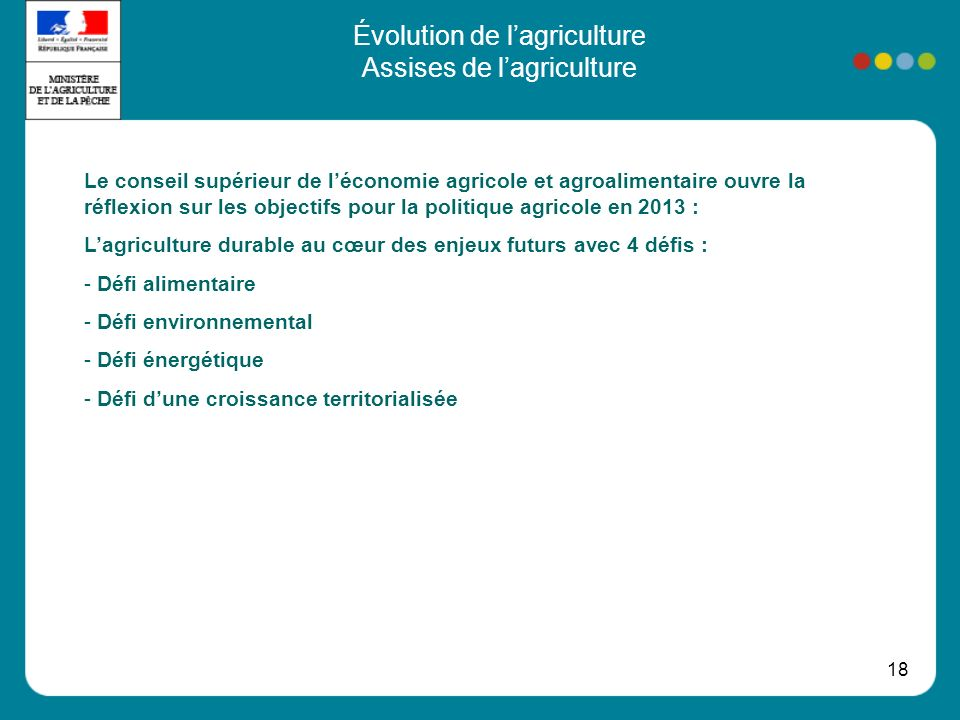 18 Évolution de lagriculture Assises de lagriculture Le conseil supérieur de léconomie agricole et agroalimentaire ouvre la réflexion sur les objectifs pour la politique agricole en 2013 : Lagriculture durable au cœur des enjeux futurs avec 4 défis : - Défi alimentaire - Défi environnemental - Défi énergétique - Défi dune croissance territorialisée