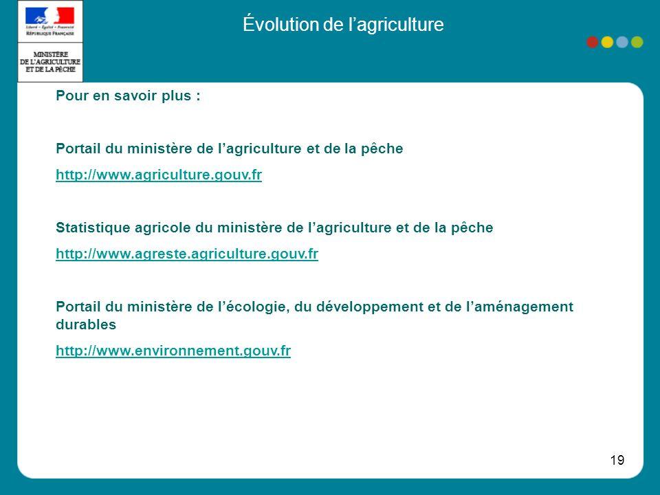 19 Évolution de lagriculture Pour en savoir plus : Portail du ministère de lagriculture et de la pêche http://www.agriculture.gouv.fr Statistique agri