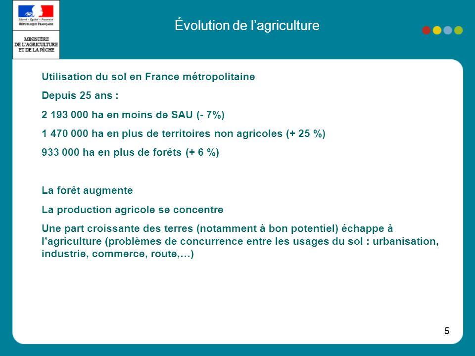 5 Évolution de lagriculture Utilisation du sol en France métropolitaine Depuis 25 ans : 2 193 000 ha en moins de SAU (- 7%) 1 470 000 ha en plus de territoires non agricoles (+ 25 %) 933 000 ha en plus de forêts (+ 6 %) La forêt augmente La production agricole se concentre Une part croissante des terres (notamment à bon potentiel) échappe à lagriculture (problèmes de concurrence entre les usages du sol : urbanisation, industrie, commerce, route,…)