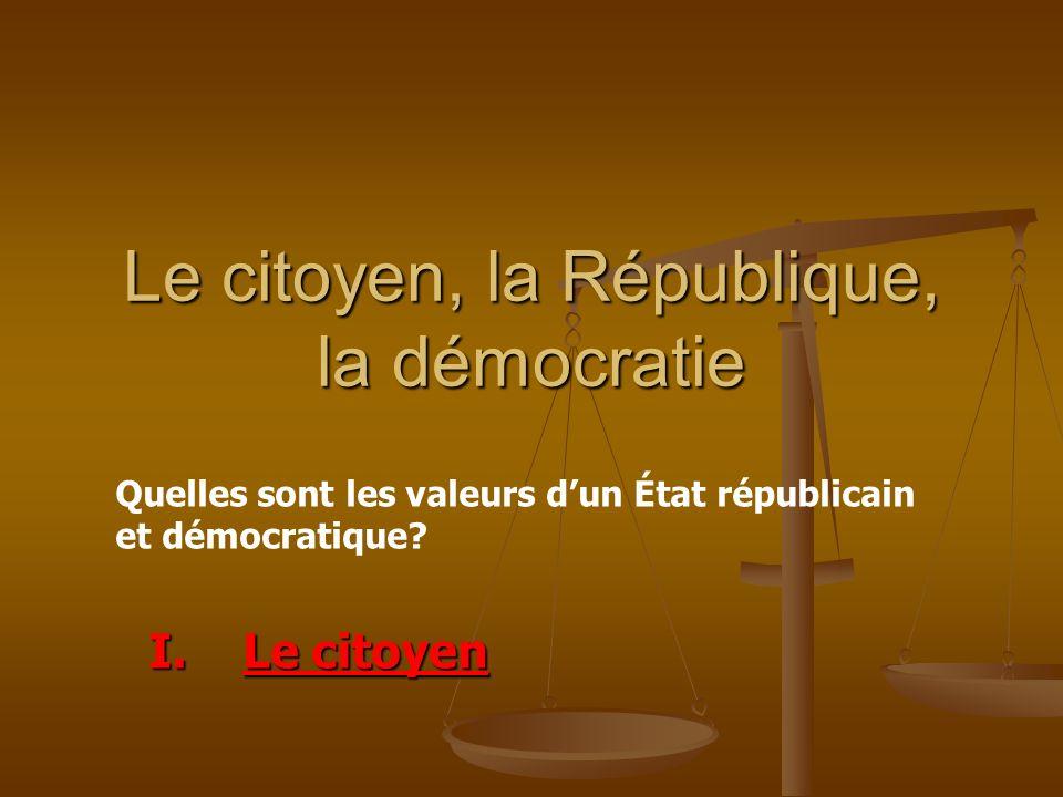 Le citoyen, la République, la démocratie I.Le citoyen Quelles sont les valeurs dun État républicain et démocratique?