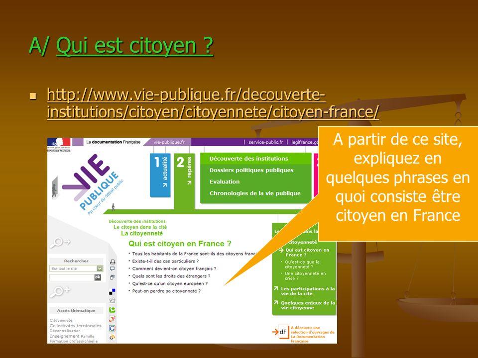 A/ Qui est citoyen ? http://www.vie-publique.fr/decouverte- institutions/citoyen/citoyennete/citoyen-france/ http://www.vie-publique.fr/decouverte- in