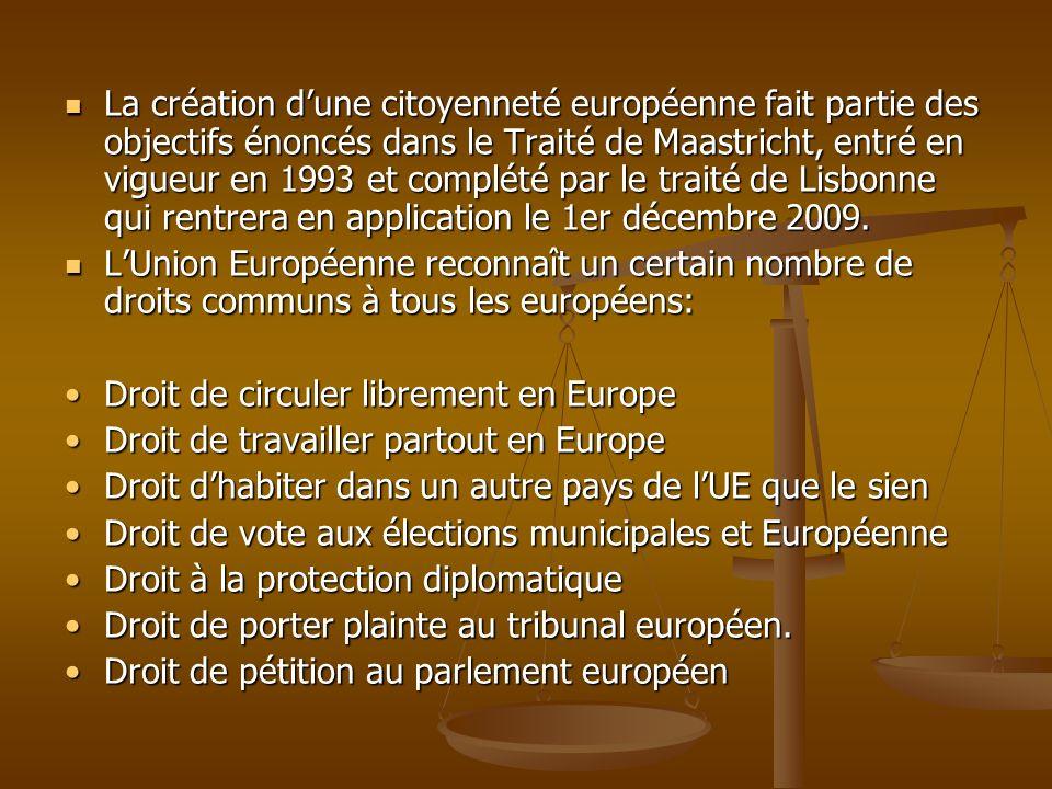 La création dune citoyenneté européenne fait partie des objectifs énoncés dans le Traité de Maastricht, entré en vigueur en 1993 et complété par le tr