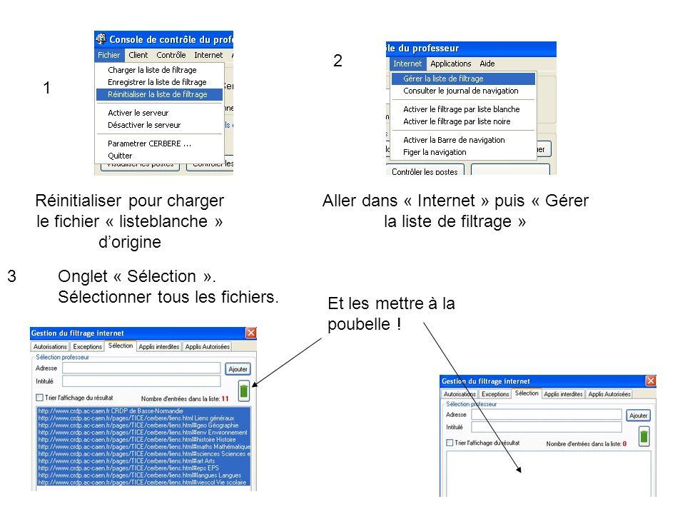 Réinitialiser pour charger le fichier « listeblanche » dorigine 1 2 Aller dans « Internet » puis « Gérer la liste de filtrage » Onglet « Sélection ».