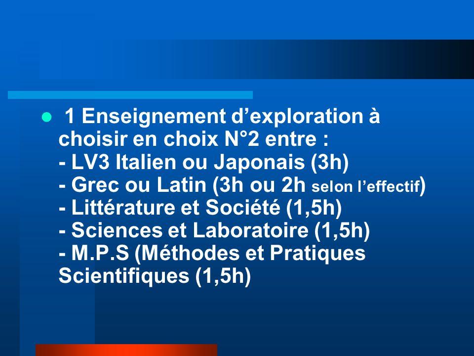1 Enseignement dexploration à choisir en choix N°2 entre : - LV3 Italien ou Japonais (3h) - Grec ou Latin (3h ou 2h selon leffectif ) - Littérature et